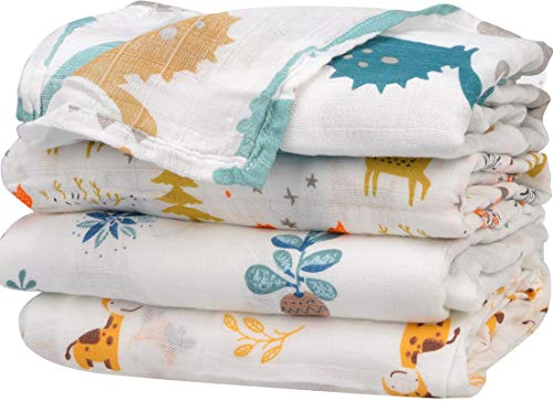 Little Jump 4 Pack Muslin Swaddle Blankets, Soft Baby Muslin Receiving Blanket Wrap for Boys & Girls, Large 47 x 47 inches (Dinosaur & Cactus & Gifafe & Woodland) (4-Pack)