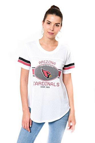 Ultra Game NFL Arizona Cardinals Womenss Soft Mesh Jersey Varsity Tee Shirt, White, X-Large