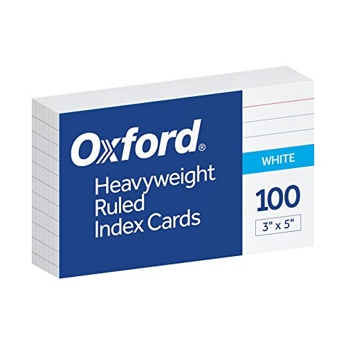 Oxford Heavyweight Ruled Index Cards, 3' x 5', White, 100 Per Pack (63500)
