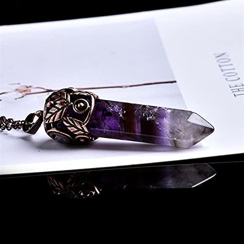 ACEACE 1 UNID Cristal Natural Hoja Cristal PERMITANDO Pendiente Chakra Punto Collar DE DECURACIÓN (Color : Amethyst)