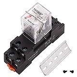 TWTADE AC 12 V Relé de potencia electromagnética de 8 pines DPDT (2NO 2NC) relé de indicador LED con bobina con enchufe YJTF08A-E/riel ranurado de aluminio/tornillo/gancho de base YJ2N-LY-AC 12 V