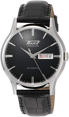 Tissot mens Visodate Stainless Steel Dress Watch Black T0194301605101