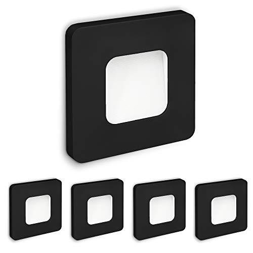 SSC-LUXon 5 Stück LED Einbau Wandleuchte Treppe DEVA Netzteil integriert 1W, warmweiß für Ø 60mm Dosen - 5x Wandspot schwarz