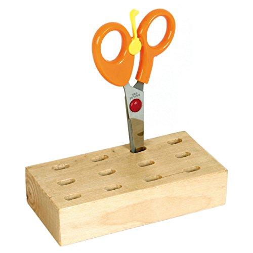 Piccolino Bastelbedarf Scherenständer Scherenhalter Scherenblock aus Holz für 12 Scheren oder Pinsel, L 12,7cm, B 6,5 cm, H 3 cm, 1 Stück