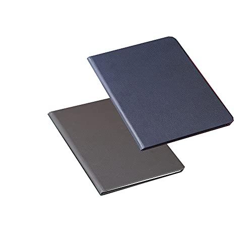 FACHAI 2 blocs de notas A5, cubierta de piel sintética, bloc de notas, calendario, planificador diario, cuaderno de notas de alta calidad, 21,3 x 14,5 cm, color gris y azul
