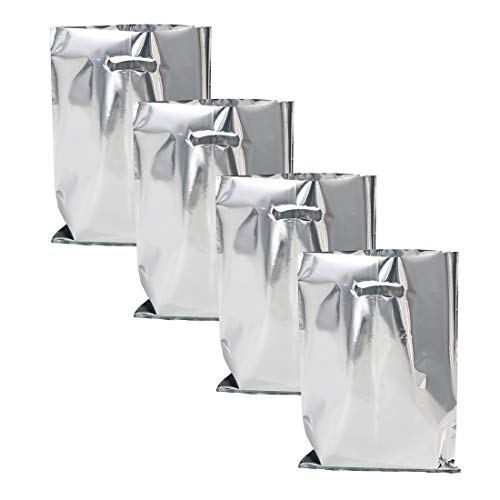 """UNIQOOO 60 Metallic Foil Silver Wedding Favor Bags, Party Treat Bags Bulk, Gift Candy Cookie Buffet Bag - Great for Christmas, Bridal Shower, Baby Shower, Birthday Party, Celebrations - 6 1/2"""" x 9 ¾"""