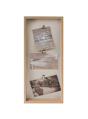Gallery Solutions Bilderrahmen Collage mit Klammern 3 Fotos à 10x15 cm, Eiche, Außen: 21x51x3,5 cm