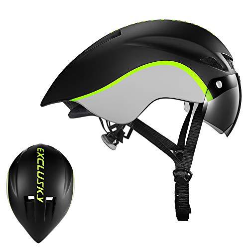 Exclusky Cicada Unisex Casco de Ciclismo para Bicicleta Bici Verde/Azul Tamano 56-61cm con Gafas (Black White)