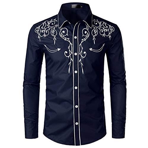 JINYAUN Camisa de Vaquero Occidental con Estilo, Camisas de Manga Larga Informales Ajustadas con Bordado de para Hombre, Camisa de Fiesta de Boda para Hombre