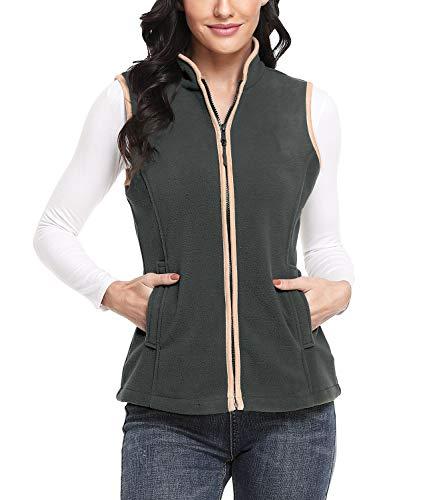 Dilgul Damen Fleece Weste mit Stehkragen Reißverschluss Jacke Outdoorweste Ultraleicht Dunkelgrau
