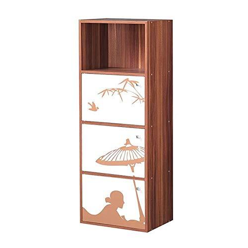JCNFA planken boekenkast Locker Plaid met deur kast opslag kubussen rekken boekenkast DIY Organizers Walnoot Print, 3 maten 15.74 * 11.41 * 41.73in Walnut Print