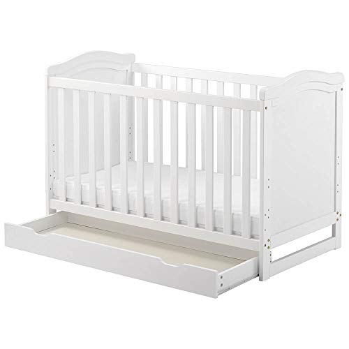 Tazzaka Wooden Baby Cot, White 2-in-1 Toddler Bed with Drawer&Foam Mattress, Converts into Day Bed Safety Wooden Barrier 3 Position Adjustable, L124 x W64.5 x H84 cm 【UK STOCK】