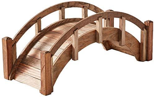 samsgazebos Miniatur Japanische behandeltes Holz Garten Brücke, 25, braun