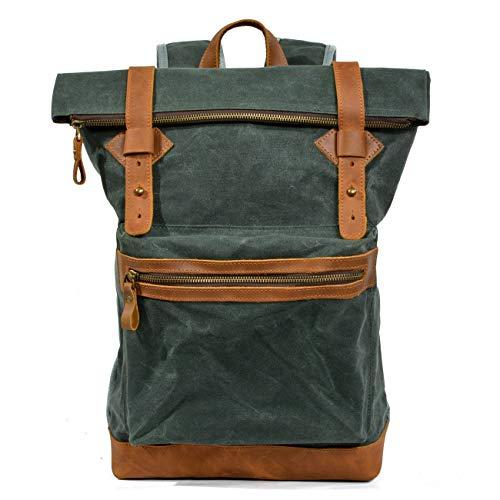 Gewachst Tasche Männer, wasserfestes Leder Leinwand Laptop Rucksack Großvolumige beiläufige Art und Weise Rucksack (Color : Army Green, Size : 28cm*12cm*42cm)