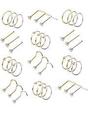 Milacolato 36-75pcs 316L Anneau De Nez en Acier Inoxydable Cerceau Nez Stud Piercing pour Femmes Filles Cerceau Cartilage Tragus Oreille Piercing Set