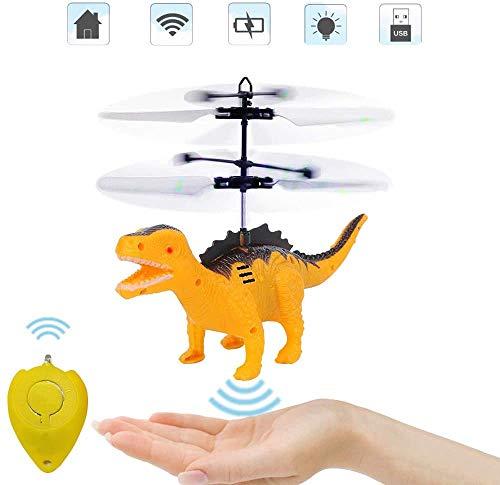 Juguete Flying Ball, helicóptero remoto y helicóptero por radiocontrol, juguete de dinosaurio, juguete controlado por inducción, juguete volador, dinosaurio, regalo para niños y niñas (amarillo)