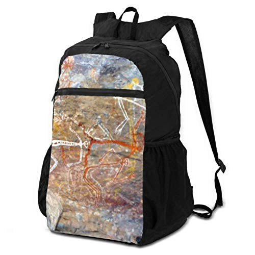 ENEVOTX Womens Hiking Daypack Aboriginal Painting Rock Painting Australia Outback Foldable Backpack Packable Men's Hiking Daypack Lightweight Waterproof for Men & Womentravel Camping Outdoor