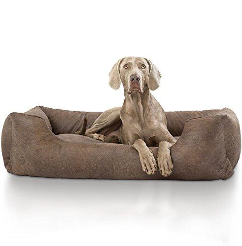Knuffelwuff 13987-002 Velour Hundebett, Hundekissen, Hundesofa, Hundekorb, im Lederdesign, Tamino, 105 x 75 cm, XL, braun