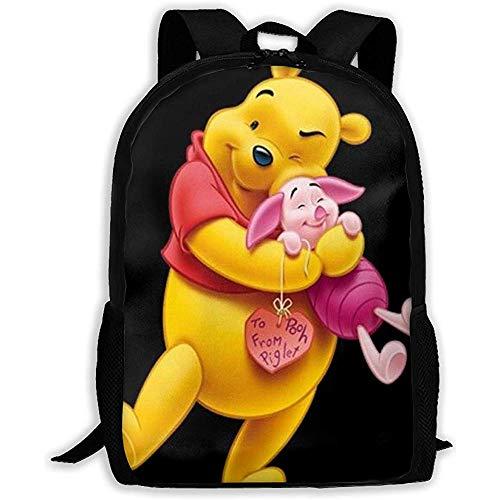 Fantasy Town Winnie The Pooh und Ferkel Rucksack drucken Reißverschluss Schultasche Travel Daypack Unisex Erwachsene Teens Geschenk Multi Pocke
