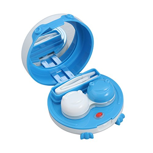HEALLILY Tragbarer Ultraschall-Kontaktlinsenreiniger Kontaktlinsenreiniger mit Spiegel und Pinzette