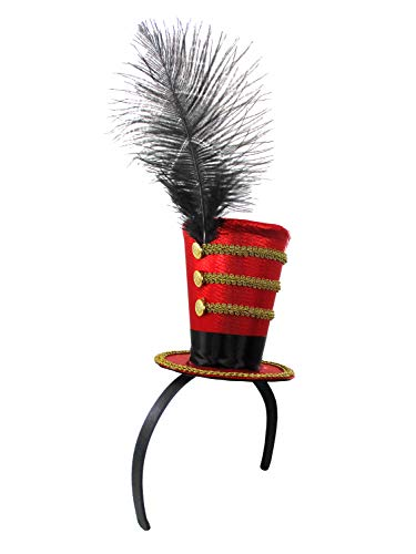 Deluxe Ringmaster Mini Top Hat on Headband - Lion Tamer Headpiece - Toy Soldier Costume Accessories, Red/Black/Gold, One Size