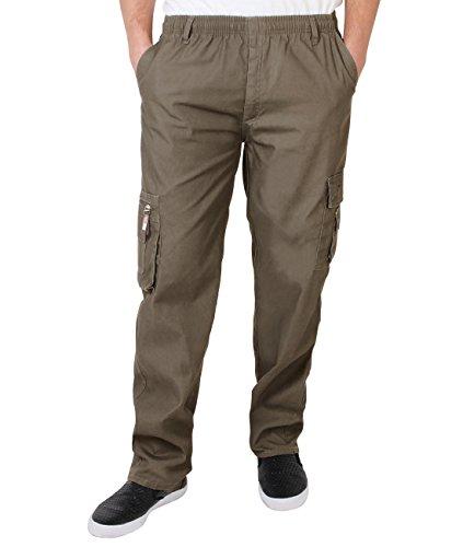 KRISP Männer Praktische Cargohose Gummizug Seitliche Taschen (Braungrau, Gr.XXX-L) (7918-TAU-XXXL)