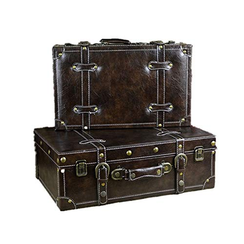 YGWE Vintage Decorative Suitcase Set Of 2 Vintage Decorative Storage Trunk Storage Box Storage Chest Kids Room Tidy Toy Box Decorative Storage Box (Color : Brown, Size : Large+small)