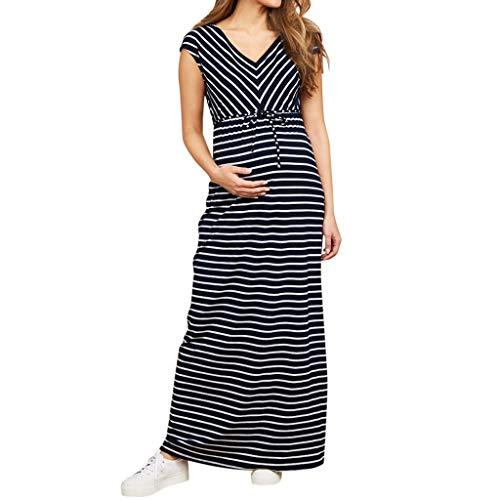 Allence Umstandskleid Festlich, Umstandsmode Damen Kleider Streifen Ärmellos Sommer Elegant Stillkleid Schwangerschaft Kleid für Schwangere