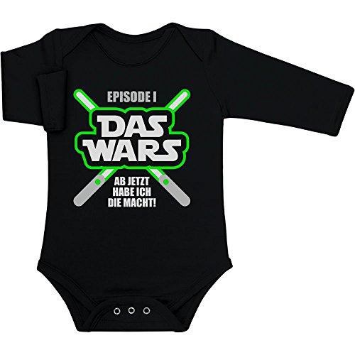 Shirtgeil DAS Wars, jetzt Habe ich die Macht - Baby Geschenk Fans Baby Langarm Body 6-12 Monate Schwarz