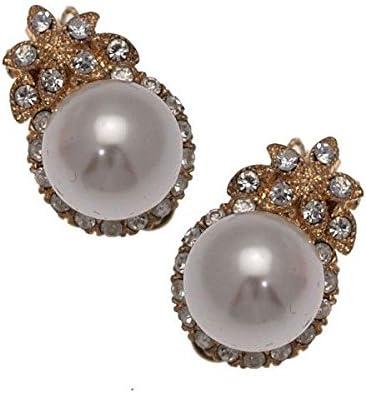 Lyonella Gold tone Crystal Cream faux Pearl Clip On Earrings