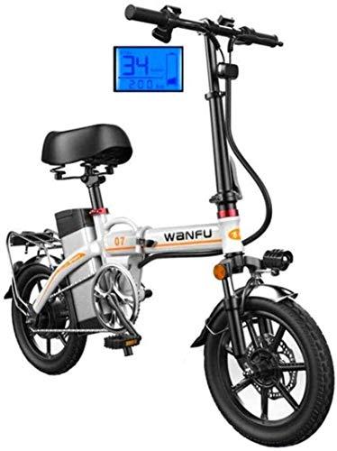 Bicicleta eléctrica de nieve, Bicicletas eléctricas rápidas for adultos de 14 pulgadas marco de las ruedas de aleación de aluminio portátil plegable bicicleta eléctrica con extraíble 48V de iones de l