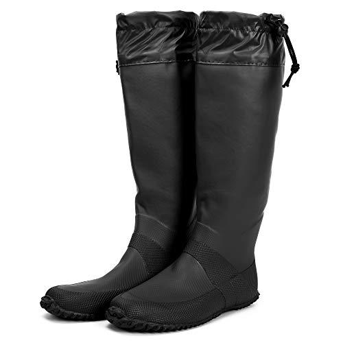 [HUGOO] レインブーツ 梅雨 折りたたみ 長靴 メンズ レディース キッズ レインシューズ パクト収納 【5カラー / 23cm~27cm 対応】 (ブラック, measurement_27_point_0_centimeters)