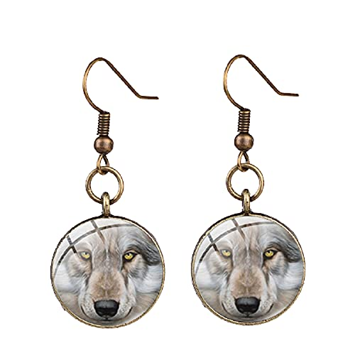 Pendientes únicos de lobo nórdico y rosa de bronce de color plata silvestre foto de cristal cabujón pendientes de gota de la joyería del oído del partido