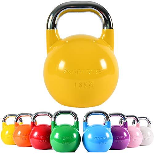 Kettlebell Competition Premium, da 4-36 kg, con esercizi per la postura (lingua italiana non garantita), di qualità professionale, 16 kg – giallo, allenamento di forza