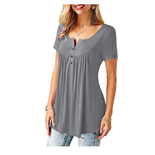 N\P Mujeres Casual de manga corta suelta camisetas de color sólido botón plisado túnica Tops cuello en V femenino Pullover Tops ropa de verano
