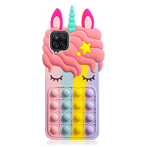 HoneyAKE Fidget Toys Phone Case for Galaxy A12 5G Phone Case Bubble Bumper Protective Soft Silicone Shockproof Stress Reliever Pop Fun Phone Cover Shell Women Girls Case for Samsung Galaxy A12,Rainbow
