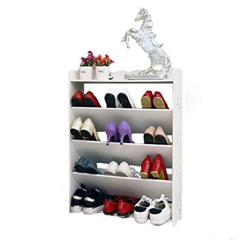 YQDSY Tablero de Pvc 4 Gabinetes de Zapatos de Nivel Blanco Hallow Out Soporte Soporte Alenamiento Organizador Estante Soporte Estantería Pantalla de Cd, 60 cm × 17Cm × 80Cm. ajust