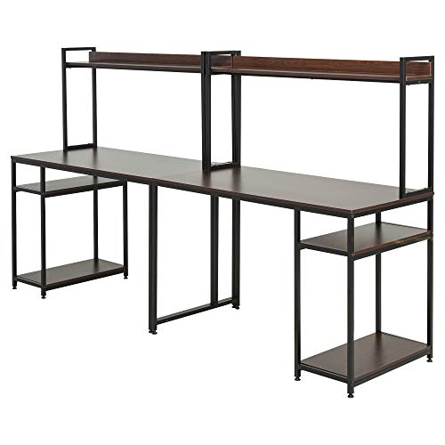 HOMCOM 94.5in Industrial Double Computer Desk with Hutch and Storage Shelves, Extra Long Home Office Writing Table 2 Person Workstation, CPU Stand, Brown Wood Grain