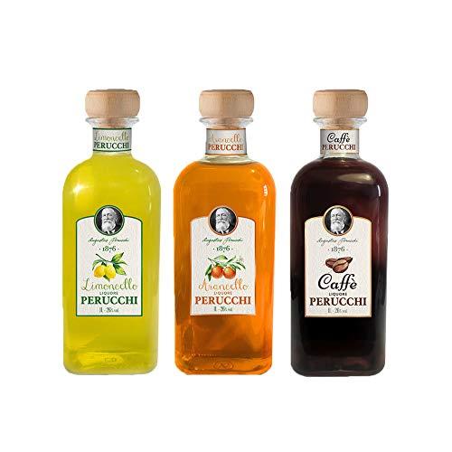 Licores Perucchi Limoncello, Arancello y Caffè Digestivo – Pack 3 botellas – 26% Alcohol – Selección Vins&Co – 1000 ml