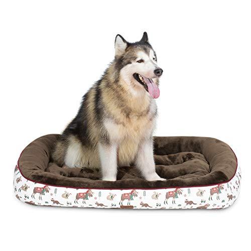 Bedsure Cama Perro Grande Navidad XL - Colchon Perro Lavable con Patrón de Reno Navideño de Felpa Muy Suave, Sofá de Perro 110x76cm