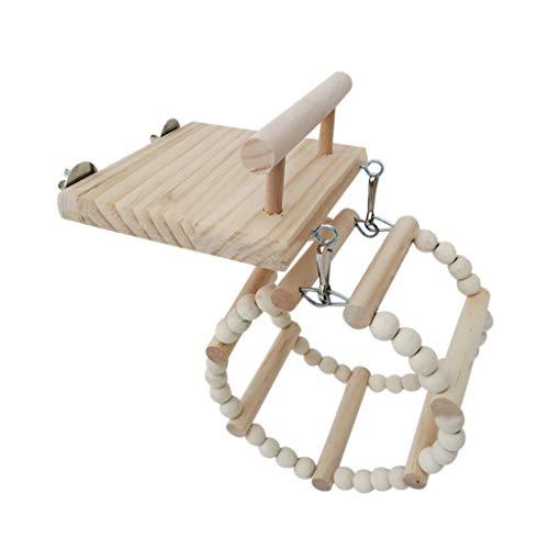 huiingwen Vogel-Sitzstangen aus Holz, mit Holzschaukel, Rattan-Ball, Riesenrad, Kauspielzeug für Papageien, Hamster