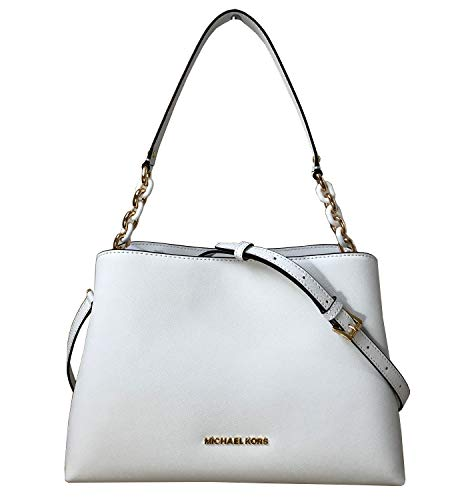 Michael Kors Sofia Large Leather EW Satchel Shoulder Bag (Optic White)