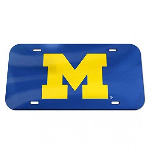 NCAA University of Michigan 09010115 Crystal Mirror License Plate, Black