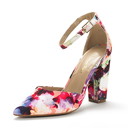DREAM PAIRS Women's Coco Floral Mid Heel Pump Shoes - 8.5 M US