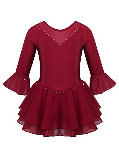 inlzdz Maillot de Patinaje Artística sobre Hielo para Niña Brillantes Vestido de Danza Ballet Manga Larga Gimnasia Disfraz de Actuación Escénica (14 Años, Burdeos 3)