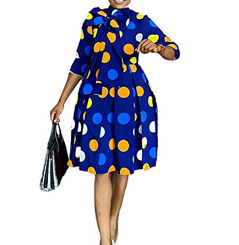 nuoshang Vestido de mujer con estampado de lunares y lazo grande azul