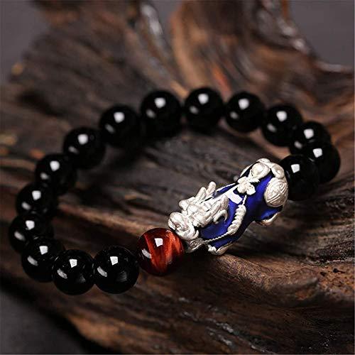 Gymqian Black Feng Shui Pulsera de Riqueza Chang Coloree Pixiu Bracelet Natural con Pixiu/Piyao Prosperity Amuleto Atraer Lucky Money Bangle Regalo para Mujeres/Hombres, 10Mm Ex
