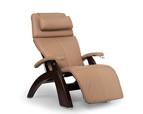Perfect Chair 'PC-420' Top Grain Leather Hand-Crafted Zero-Gravity Dark Walnut Manual Recliner, Sand