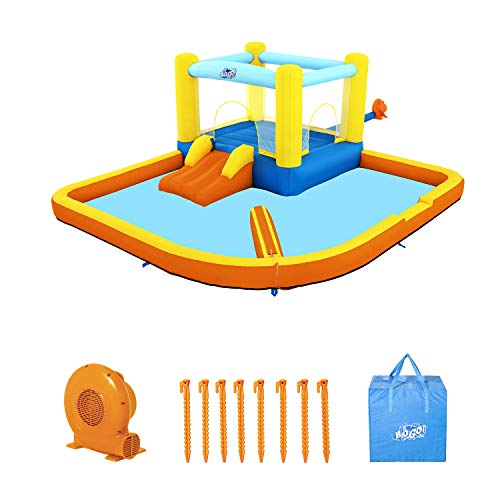 Bestway H2OGO! Fast Inflatable Beach Bounce House Splash and Slide Backyard Water Park with Air Blower, Ground Stakes, and Storage Bag