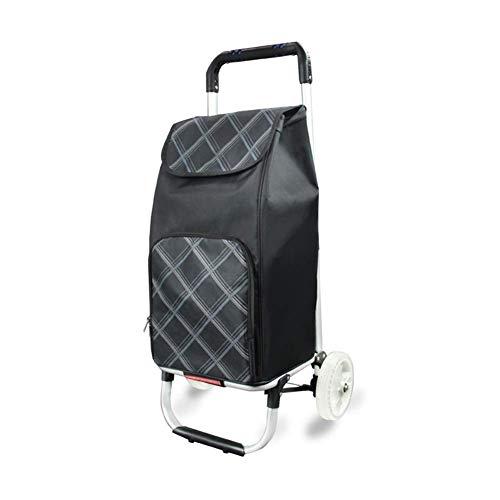 MHBGX Multifunction Portable Hand Trucks,Trolleyshopping Trolley Aluminum Alloy Oxford Cloth Foldable Household Pu Wheel Waterproof Wear-Resistant, 4 Colors,Black